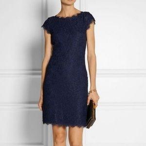 DVF Barbara Corded Lace Blue Mini Dress sz 4